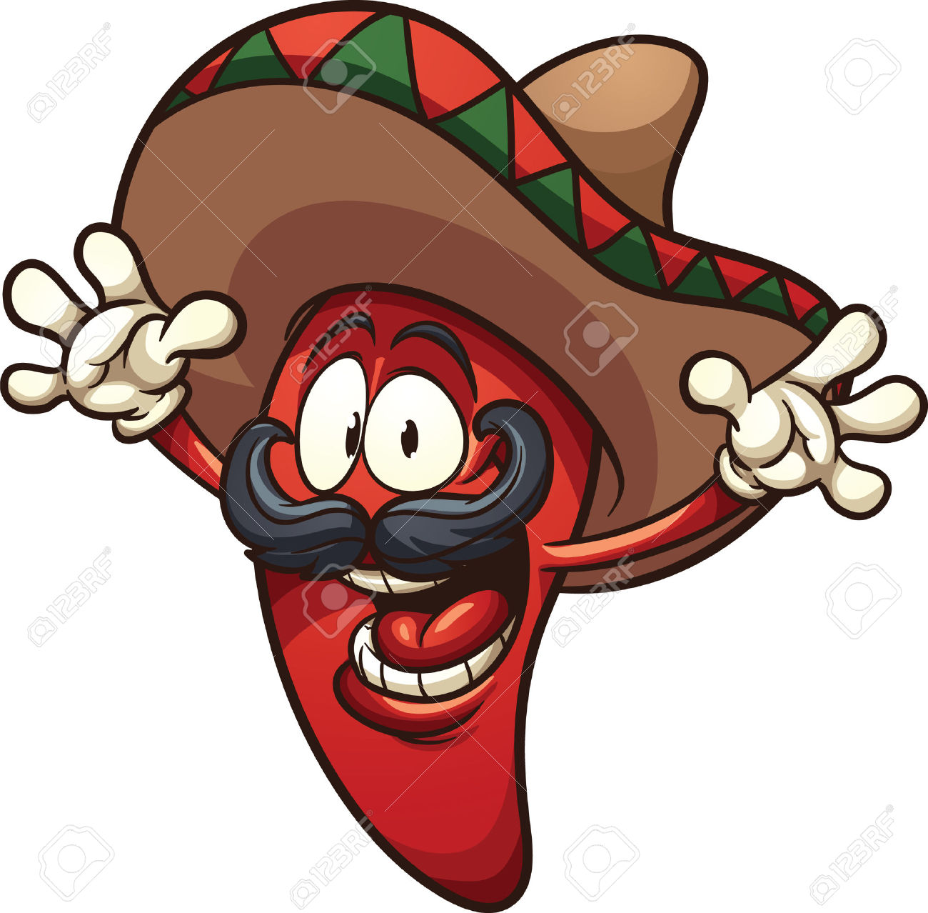 Happy Mexican Chili Pepper. Vector Clip Art Illustration With.