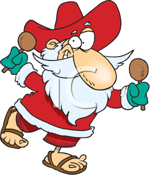 Royalty Free Clipart Image of Santa Wearing a Sombrero.