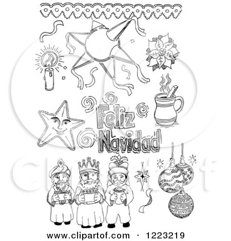 Clipart of Black and White Sketched Mexican Christmas Items.