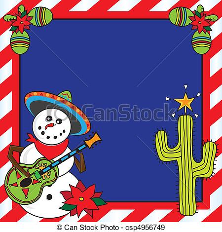 Mexican christmas card. Snowman mariachi with candy cane frame..