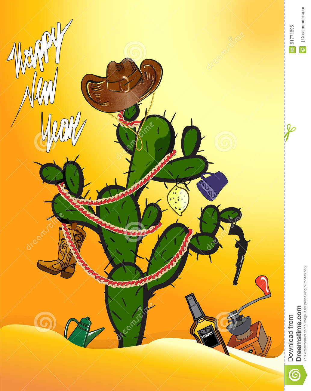 Cactus Mexico Christmas Tree Stock Vector.