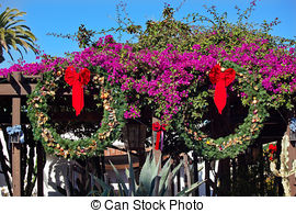 Stock Photos of Mexican Christmas Decorations Balcony Old San.
