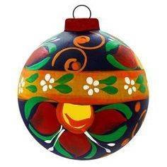 Paper Mache Mexican Christmas Tree Ball Ornaments.