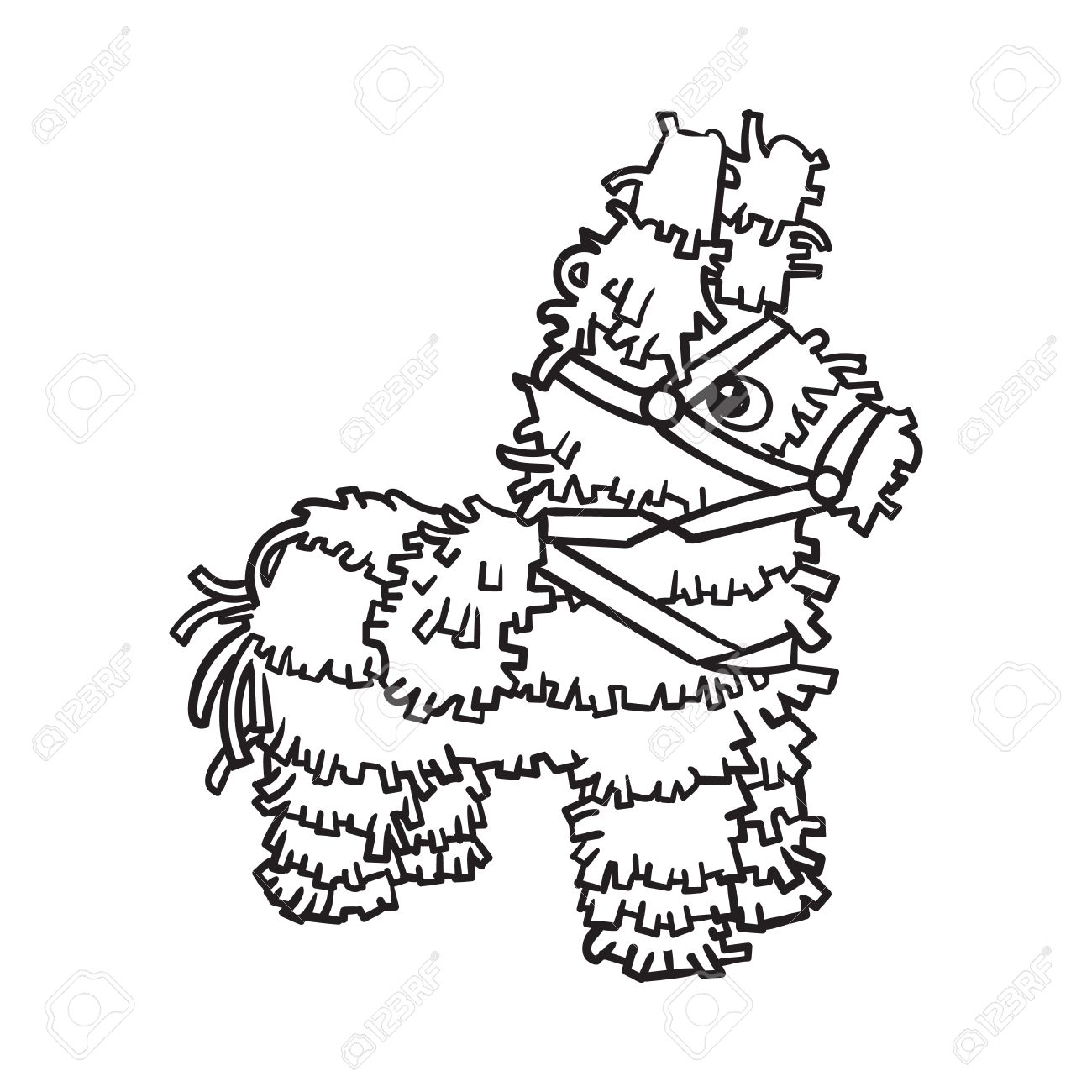 Traditional Mexican brightly pinata, black and white sketch style...