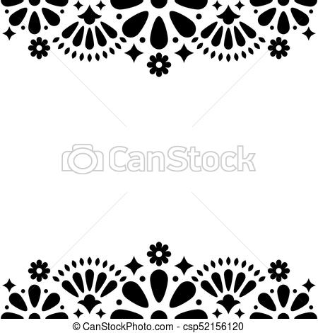 Mexican folk vector wedding or party invitation, floral happy greeting  card, black and white frame design with flowers and abstract shapes.