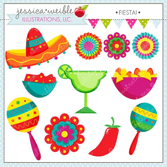 Fiesta Cute Digital Clipart, Spanish Mexican Clipart.