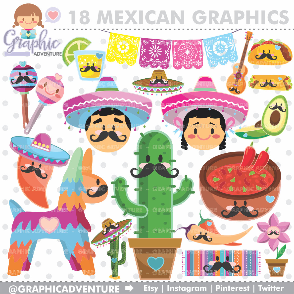Mexican Clipart, Mexican Graphics, COMMERCIAL USE, Kawaii Clipart, Mexican  Party, Planner Accessories, 5 de Mayo, Festive 5 de Mayo.