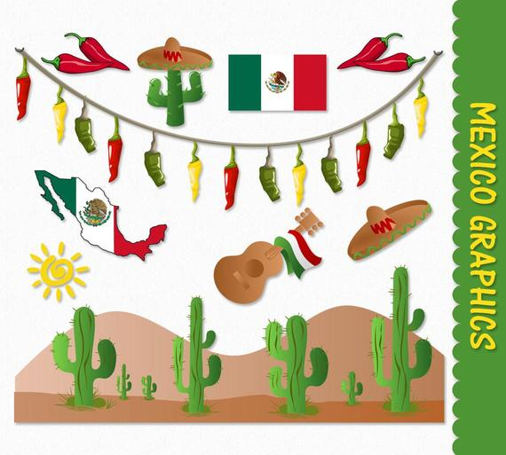 Mexico Clip Art Graphics Mexican Clipart Scrapbook Cactus Chilli Peppers  Flag Map Sombrero Digital Download PNG Vector Commercial Use.