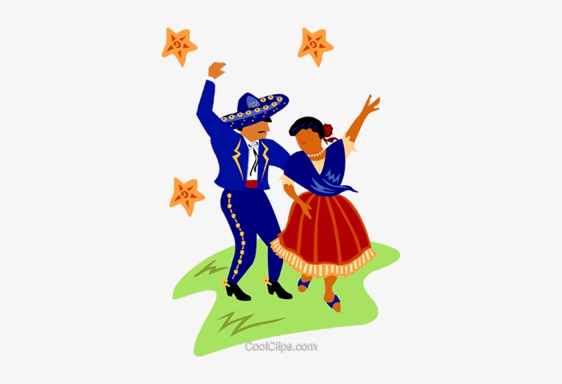 Mexican Dancers Royalty Free Vector Clip Art Illustration.