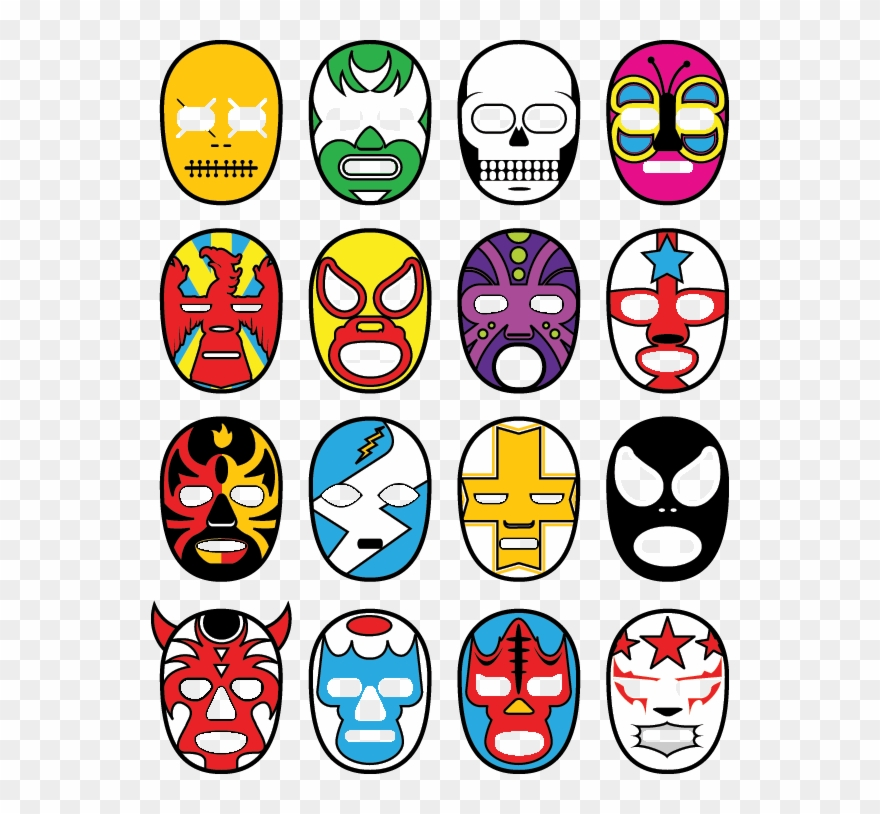Mexican Wrestling Masks Design Clipart (#4113649).