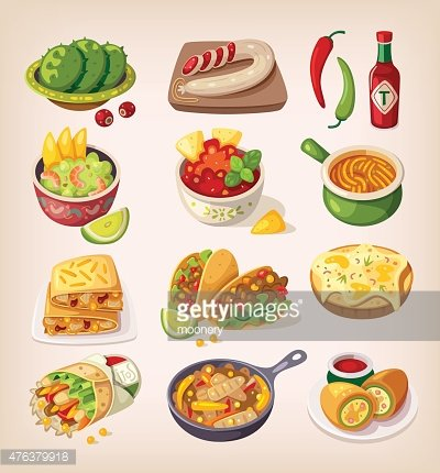Colorful mexican food Clipart Image.