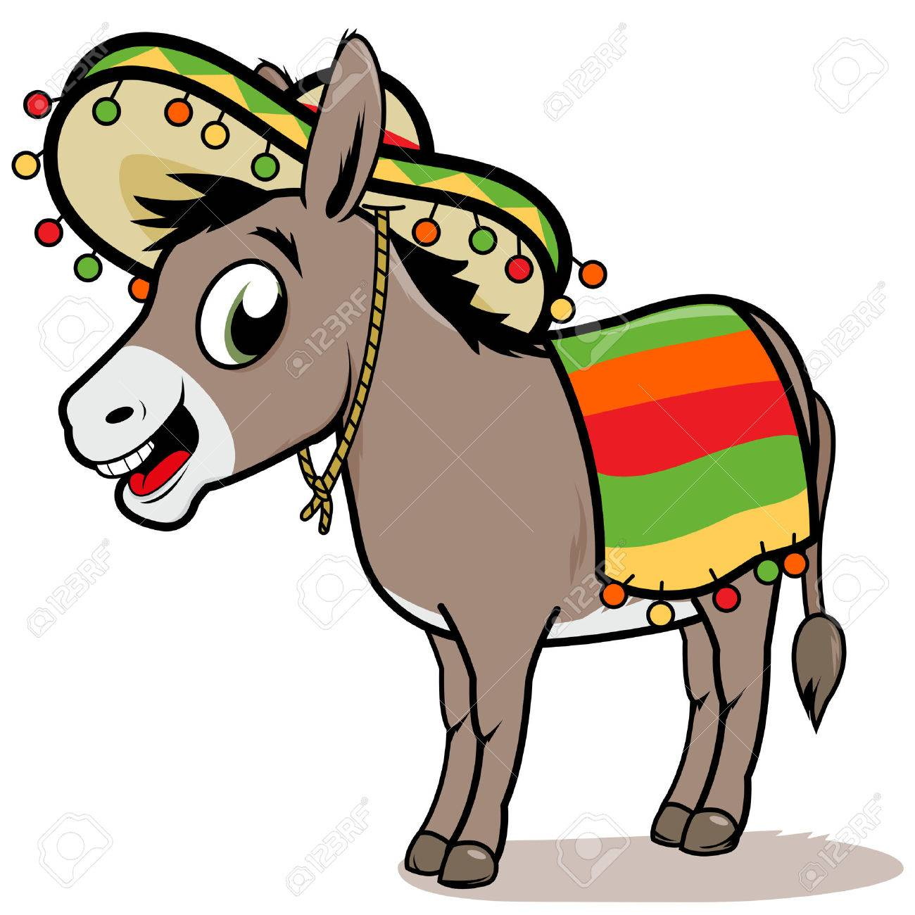 Cartoon Mexican donkey.