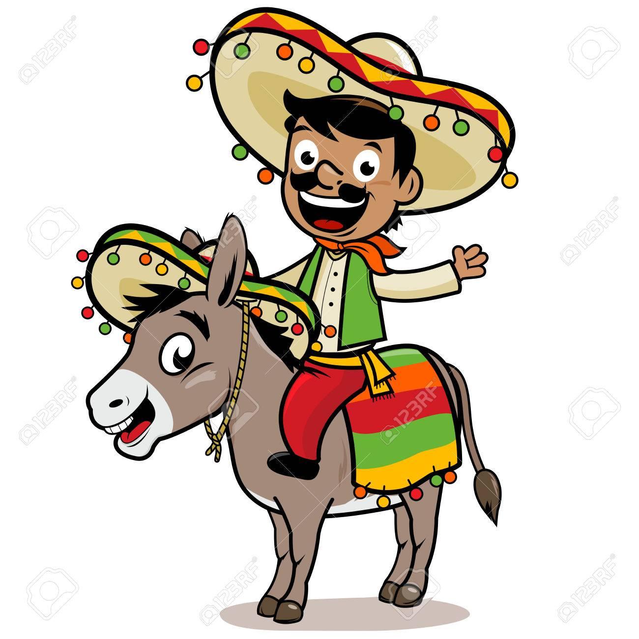 Mexican man riding a donkey.