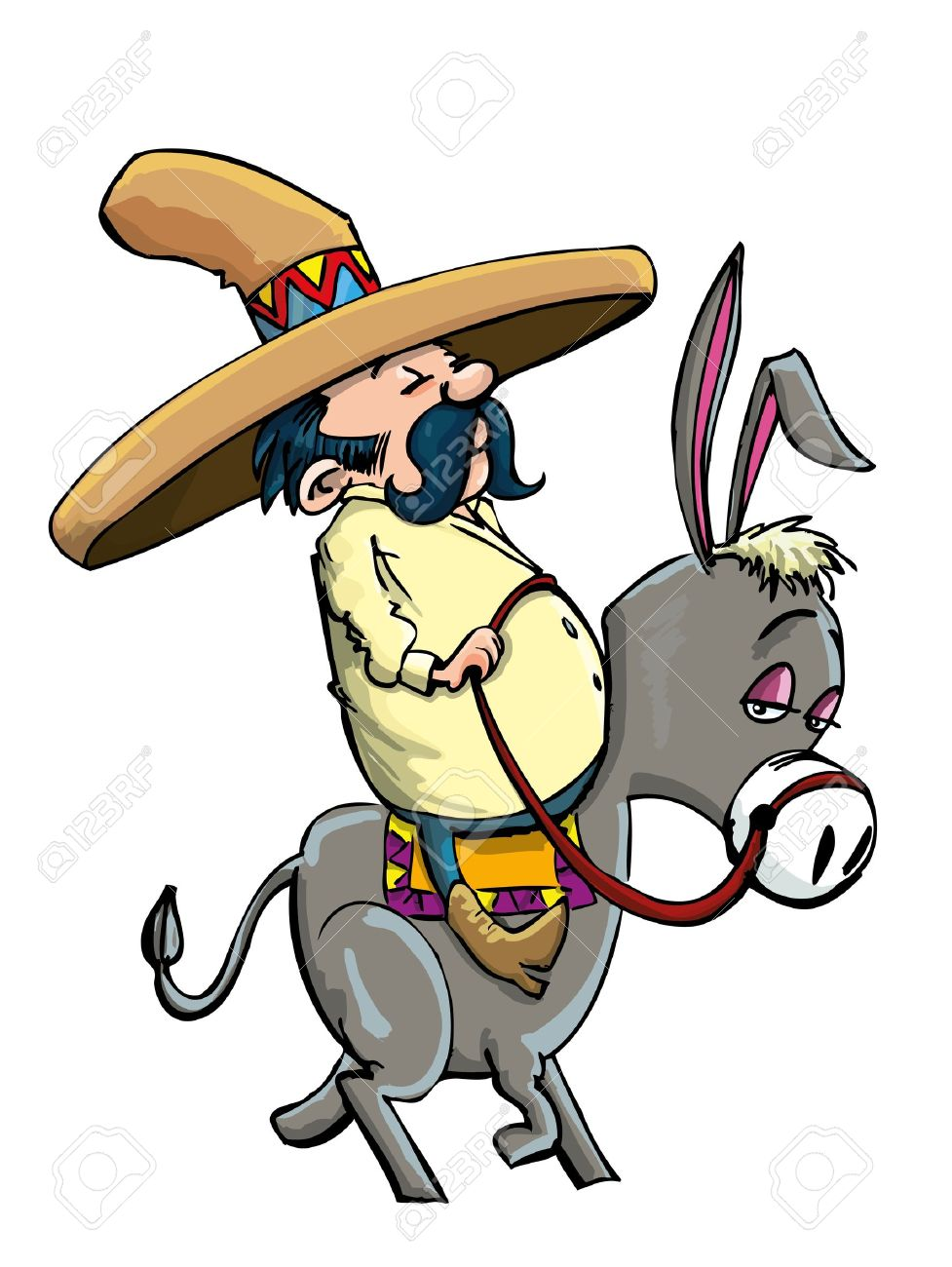 Cartoon Mexican wearing a sombrero riding a donkey. Isolated.
