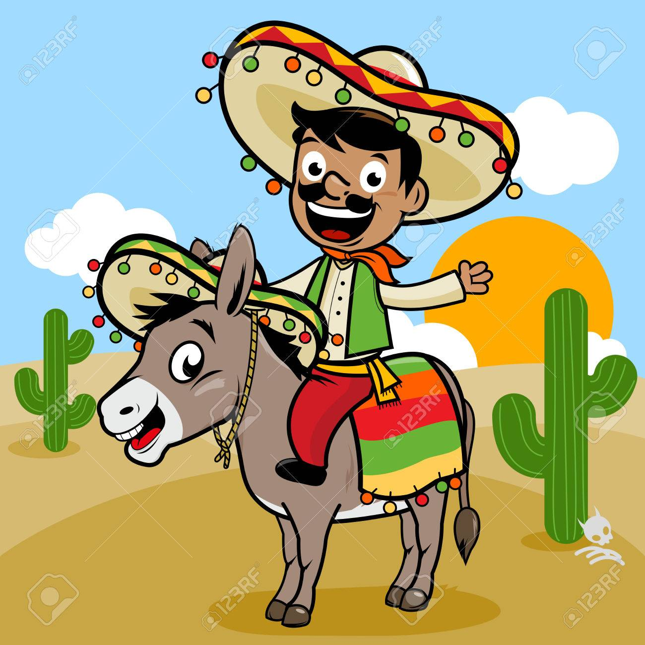Mexican man riding a donkey in the desert.
