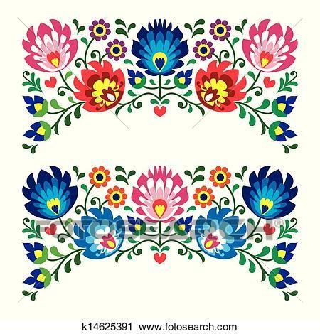 Polish floral folk pattern Clipart.
