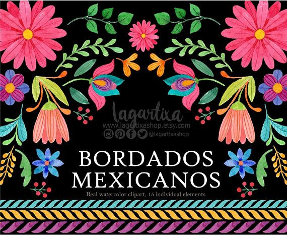Mexican Watercolor Floral clipart, PNG, mexican party.