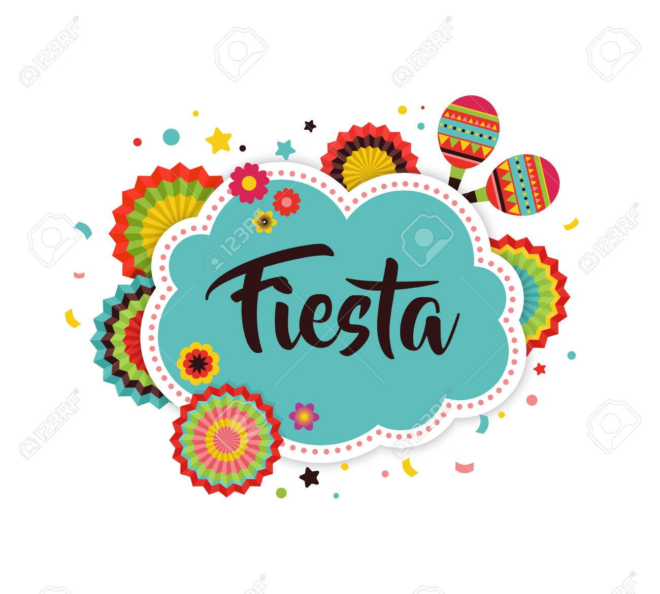 Mexican Fiesta background, banner and poster design with flags,...