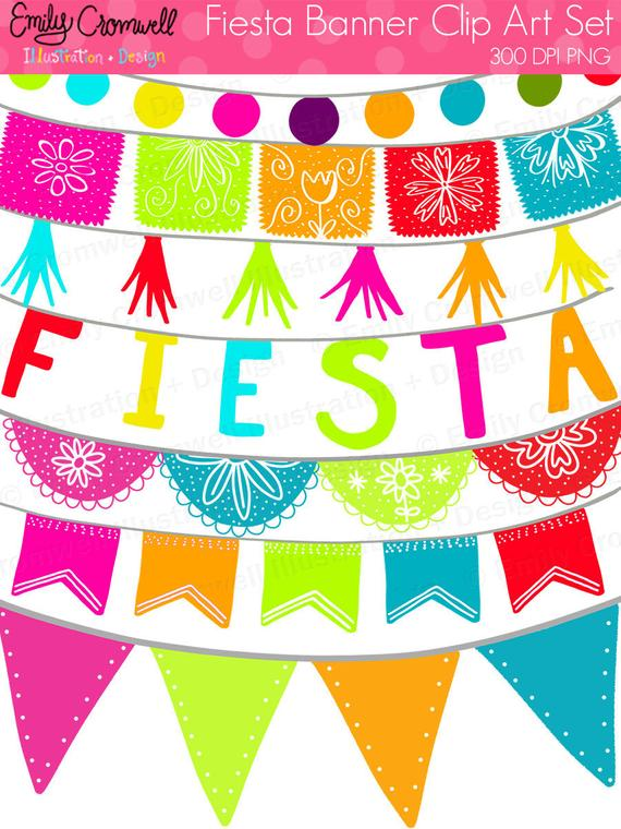 Fiesta Banners Digital Clipart, Fiesta, Mexican Fiesta, Cinco De Mayo,  Fiesta Graphics, Instant Download, PNG Clipart.