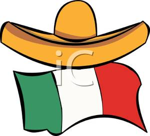 Sombrero and the Mexican Flag.