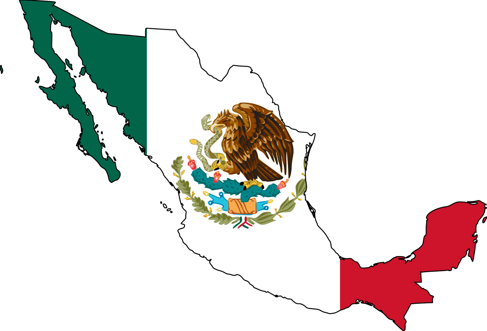 Mexican American Flag Clipart.