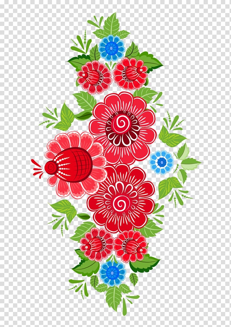 Red and blue petaled flowers , Flower Ornament Art Floral.