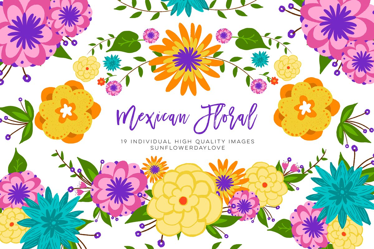 Mexican Floral Colorful Clipart.