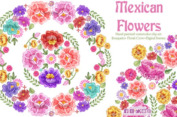 Mexican Flowers watercolor clip art.