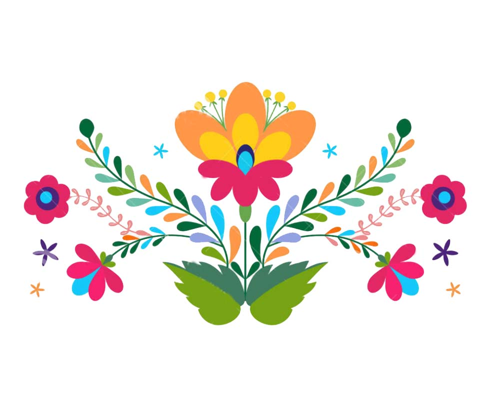 Mexican Flowers Clip Art.