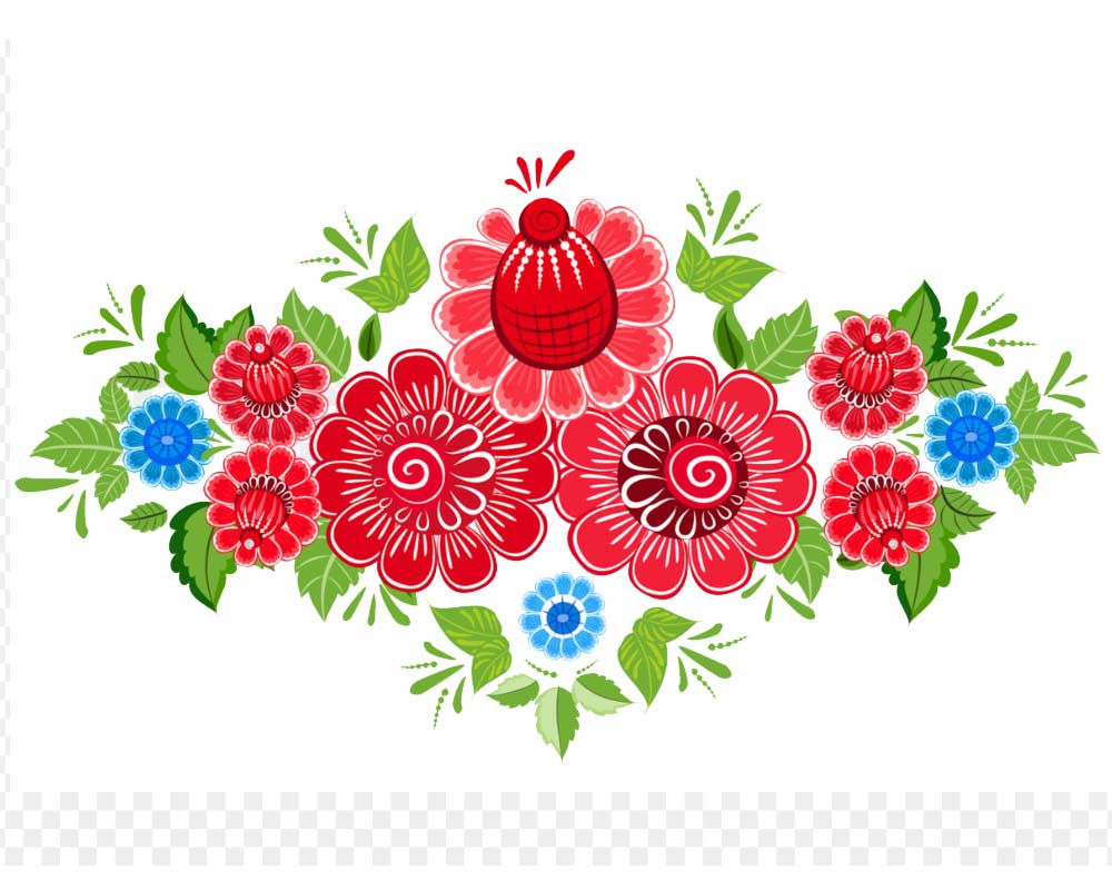 Mexican Flowers Clip Art Design.