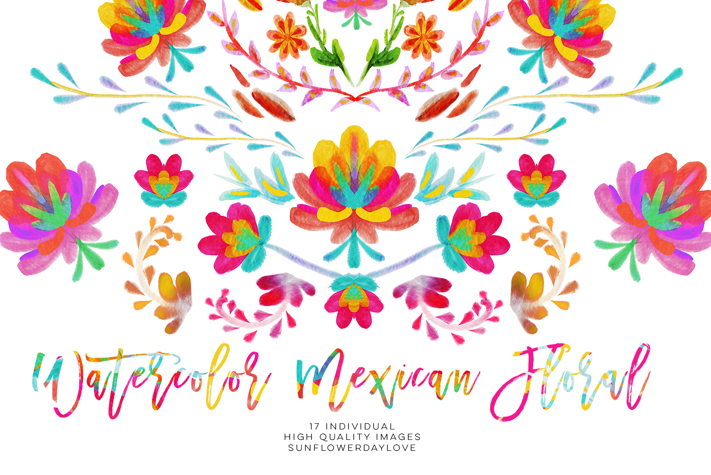 Watercolor mexican floral clipart, fiesta invitation clipart.