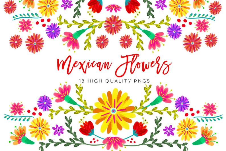 Mexican Watercolor Floral clipart, flowers fiesta clip art, cinco de mayo  clip art, colorful mexican clip art Spanish Mexican Floral Clipart.