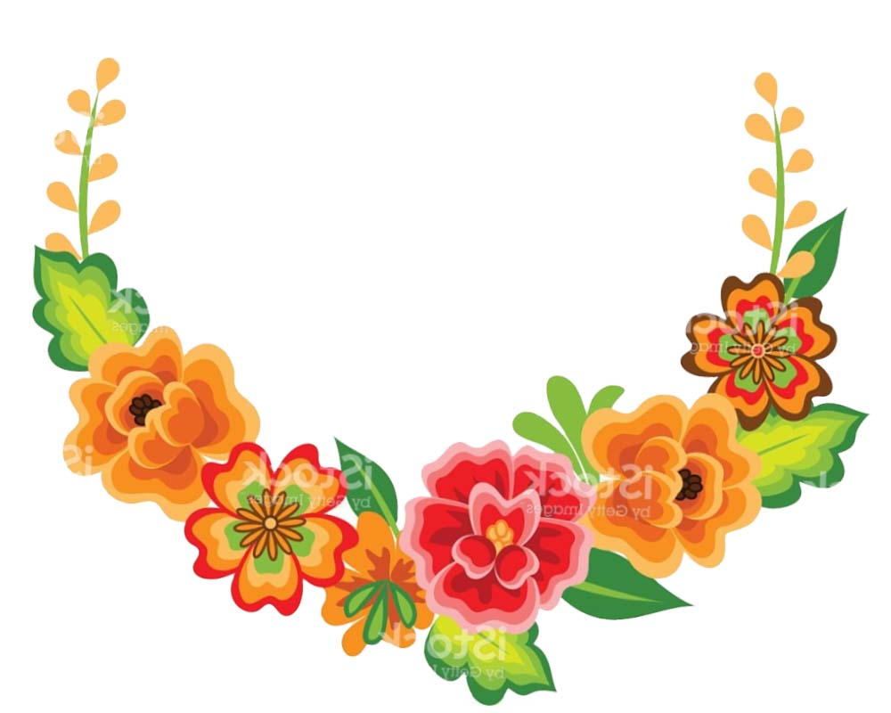 Mexican Flowers Clip Art Template.