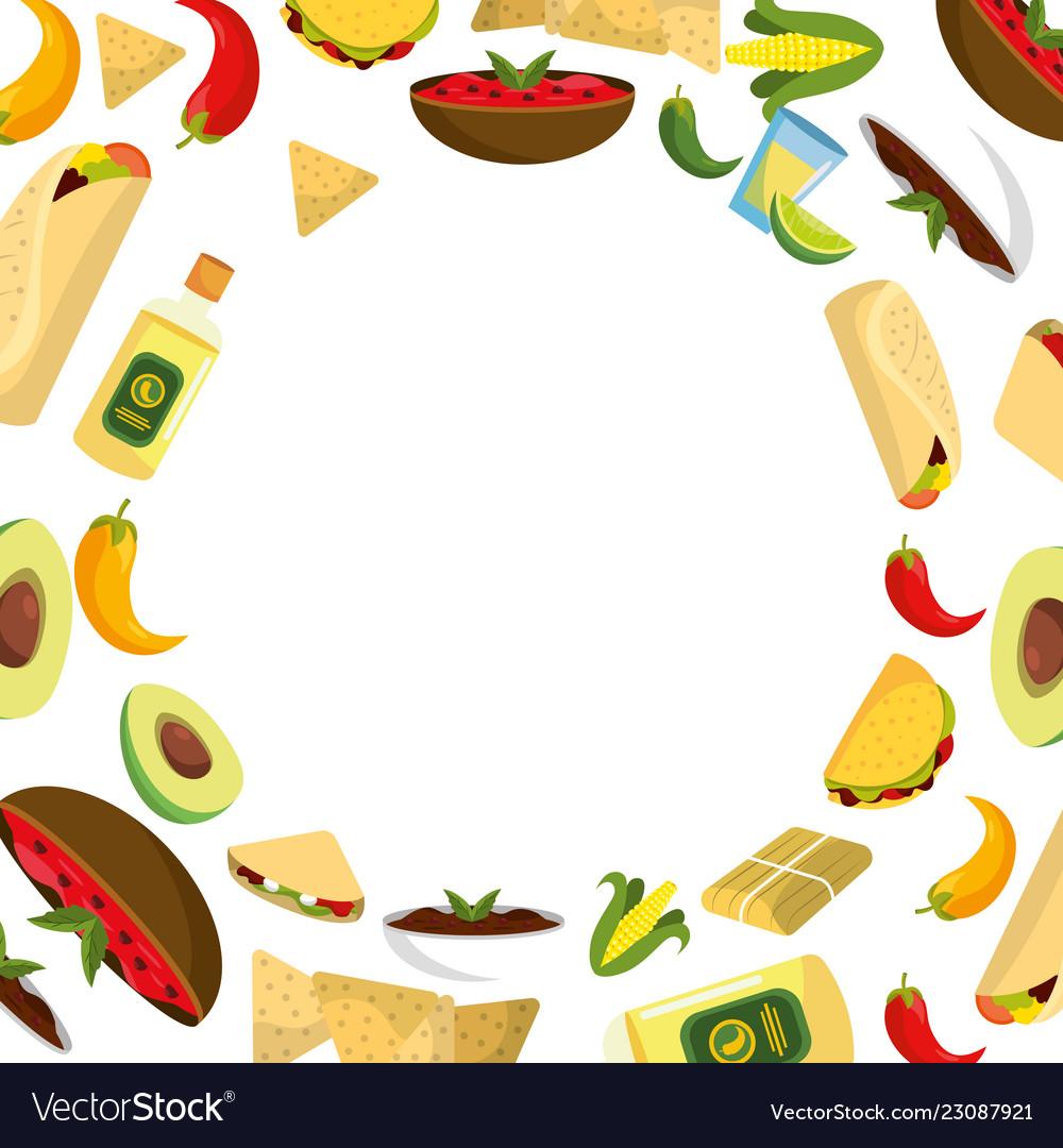 Delicious mexican food cartoon.
