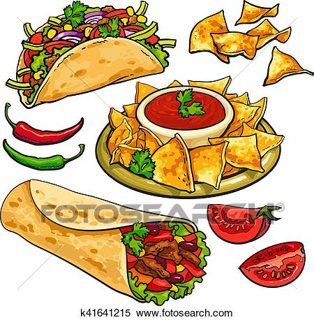 Set of traditional Mexican food.
