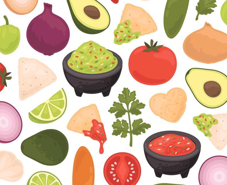 Salsa & Guacamole Clipart, Mexican Food Clipart, Taco Tuesday Clipart,  Commercial Use.
