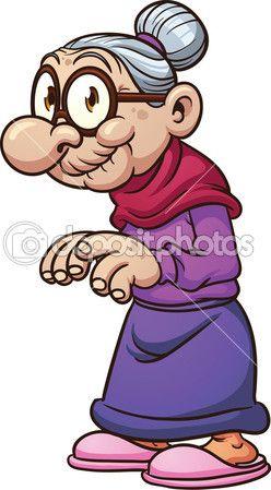 Cute cartoon grandma. Vector illustration with simple.