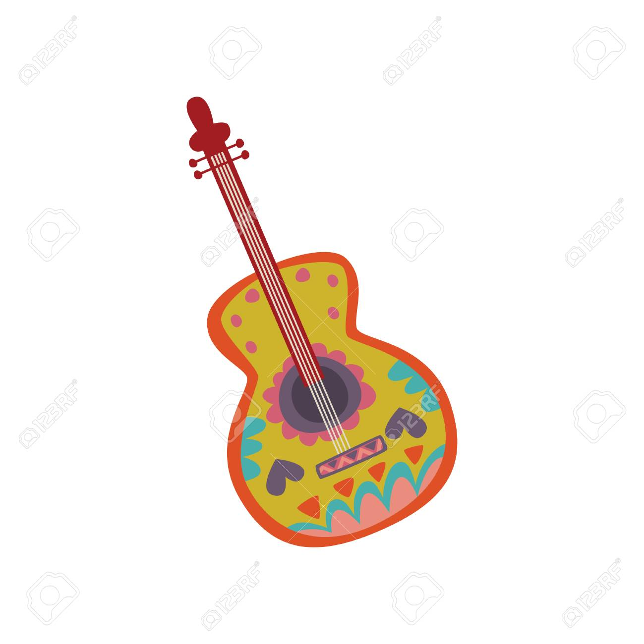 Acoustic guitar with Mexican ornament cartoon vector Illustration.