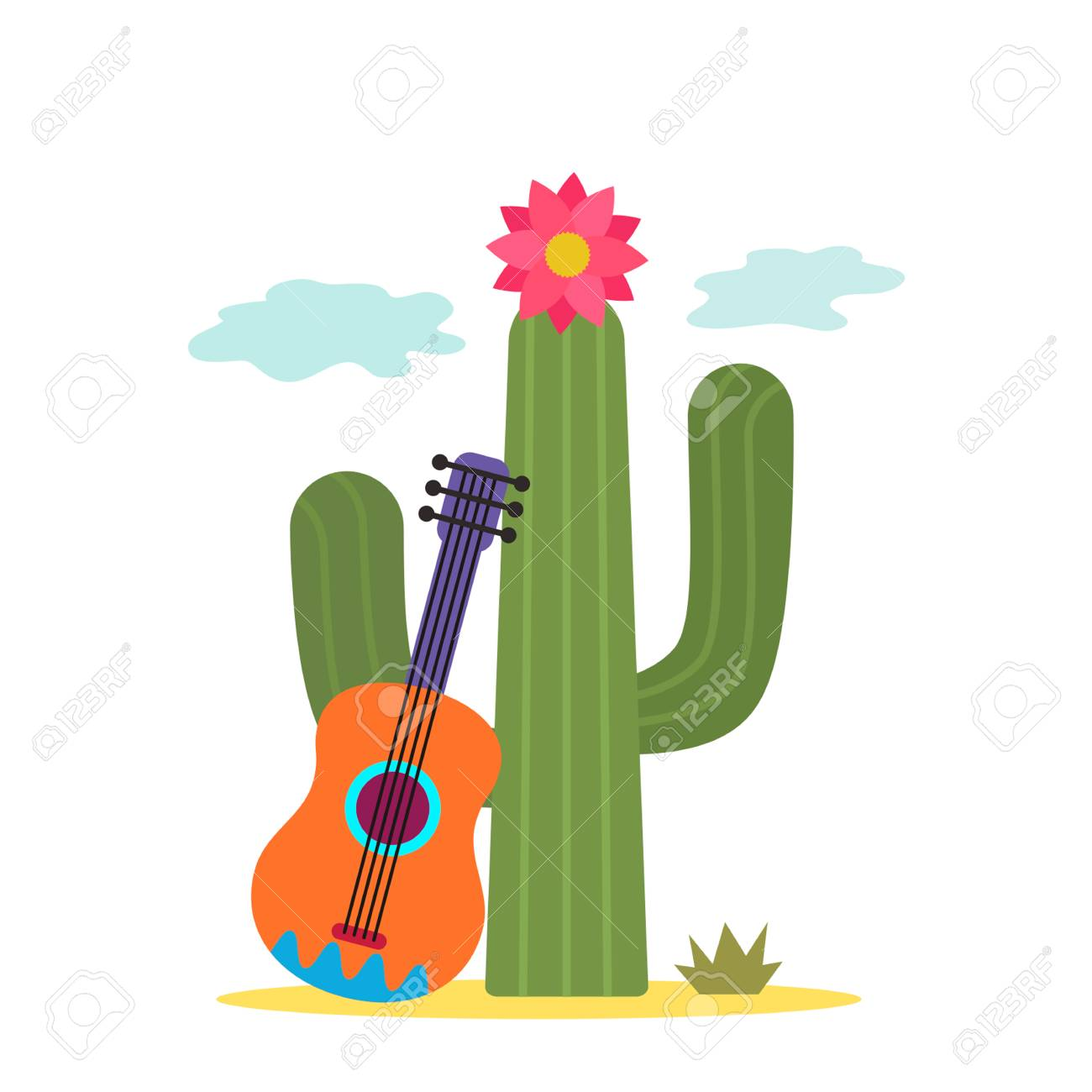 Cactus with a Mexican guitar. white background Vector illustration..