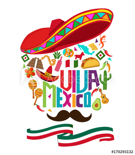 Mexico independence day typography text, background design.