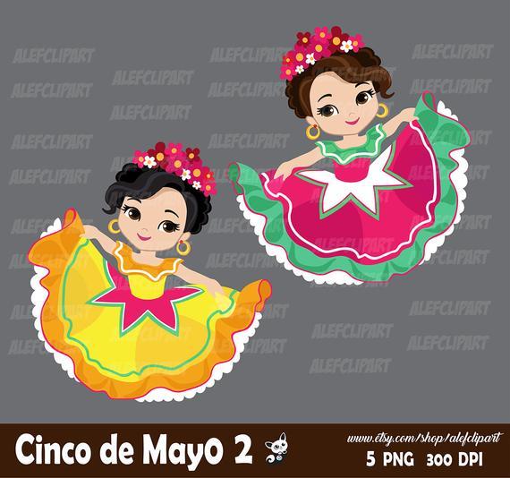 Cinco de Mayo clipart 2. Mexican girls dancers, mariachi.