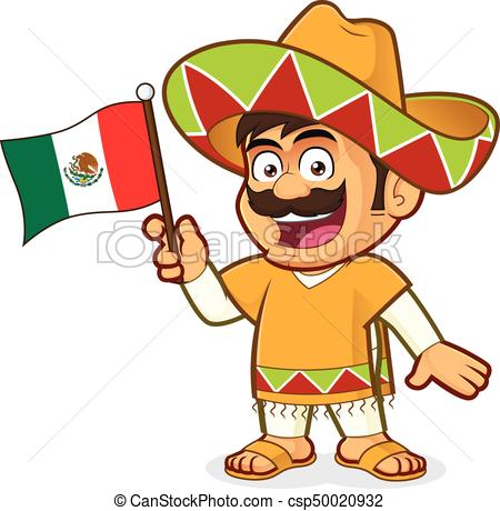 Mexican man holding a mexican flag.