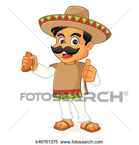 Mexican man holding taco Clipart.