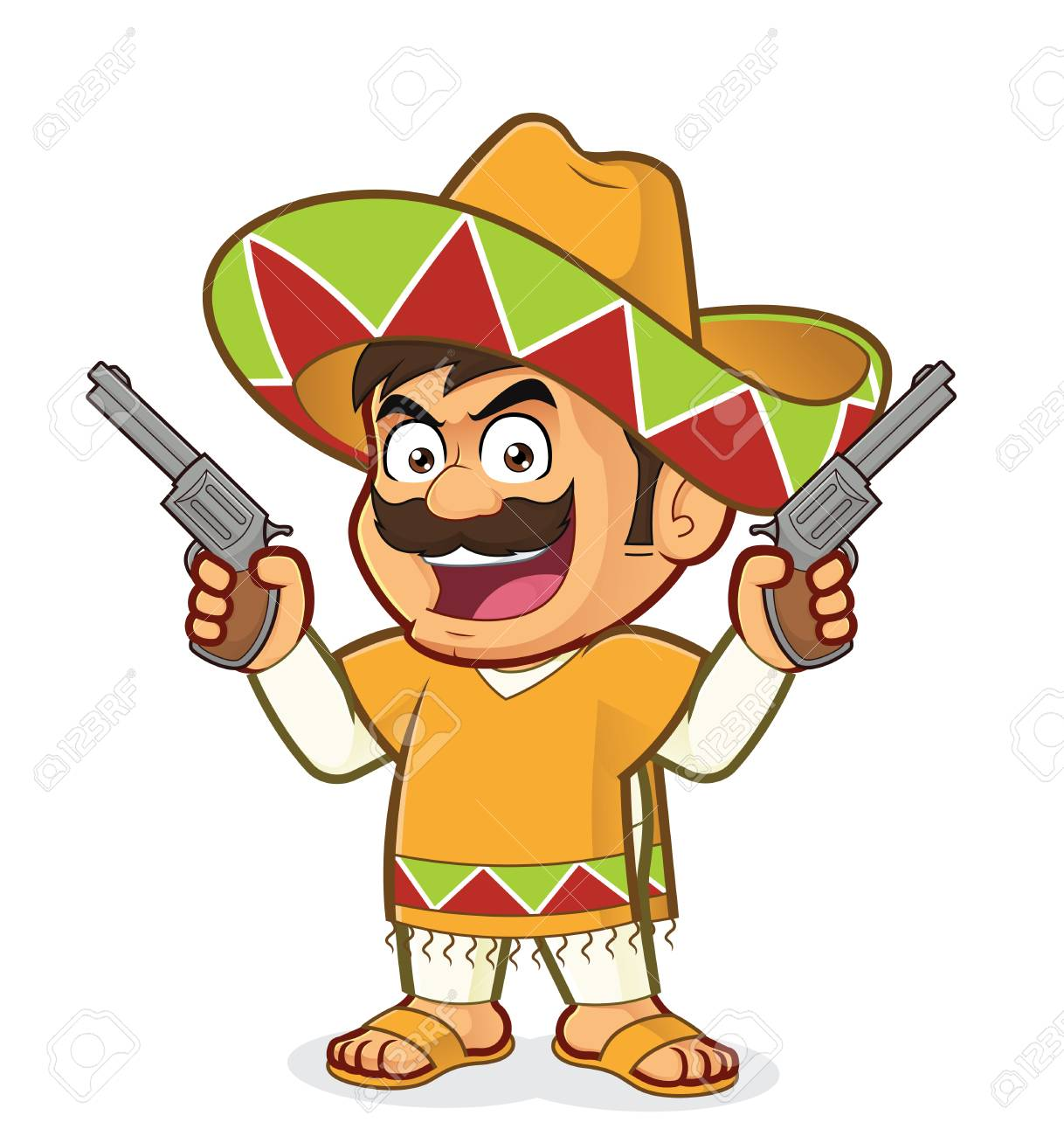 Mexican man holding two guns.
