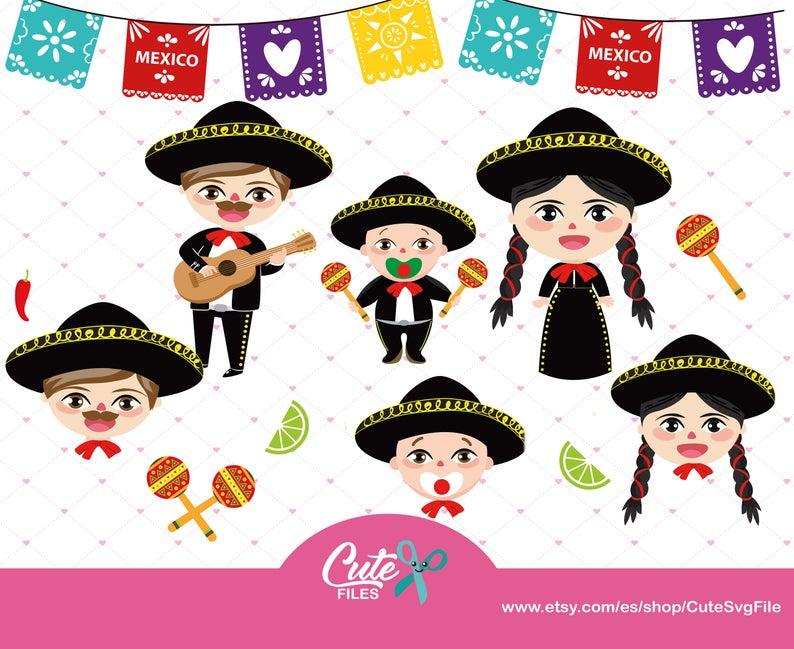 México clipart set, mariachi family , Babies Mexican Folklore, mariachi  Clipart, Party clipart , Mexican png.