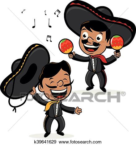 Mexican mariachi men. Vector Illustration Clip Art.