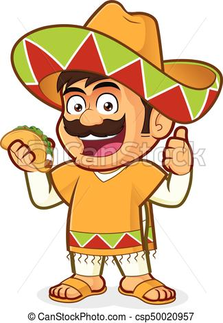 Mexican man holding a taco.
