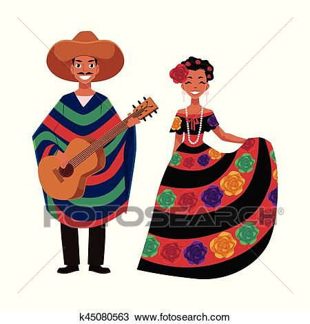 Mexican man and woman in traditional national clothes, festival,  celebration Clipart.