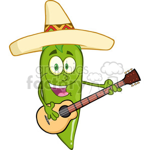 6799 Royalty Free Clip Art Green Chili Pepper Cartoon Character With  Mexican Hat Playing A Guitar clipart. Royalty.