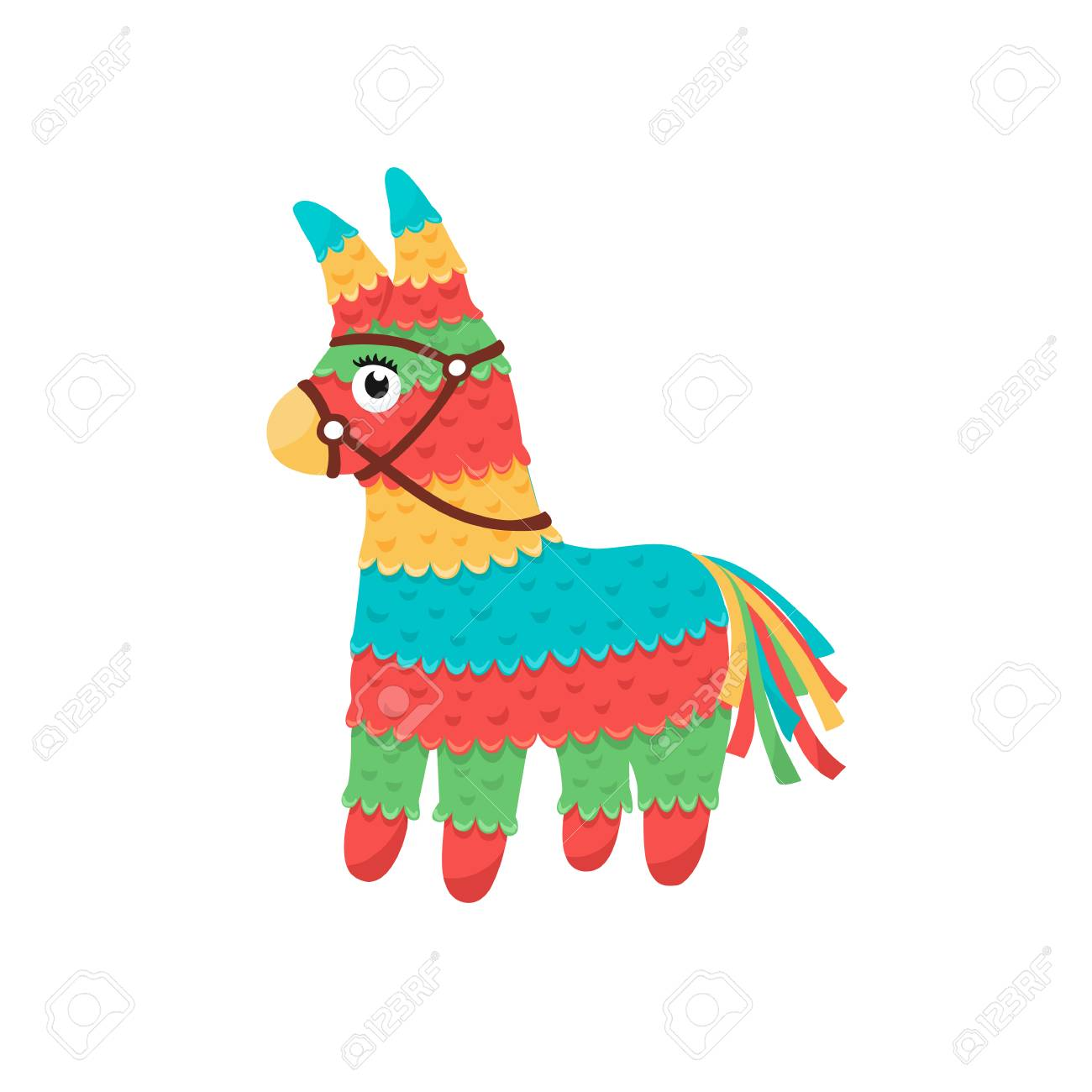 Colorful pinata isolated on white background. Mexcian traditional...